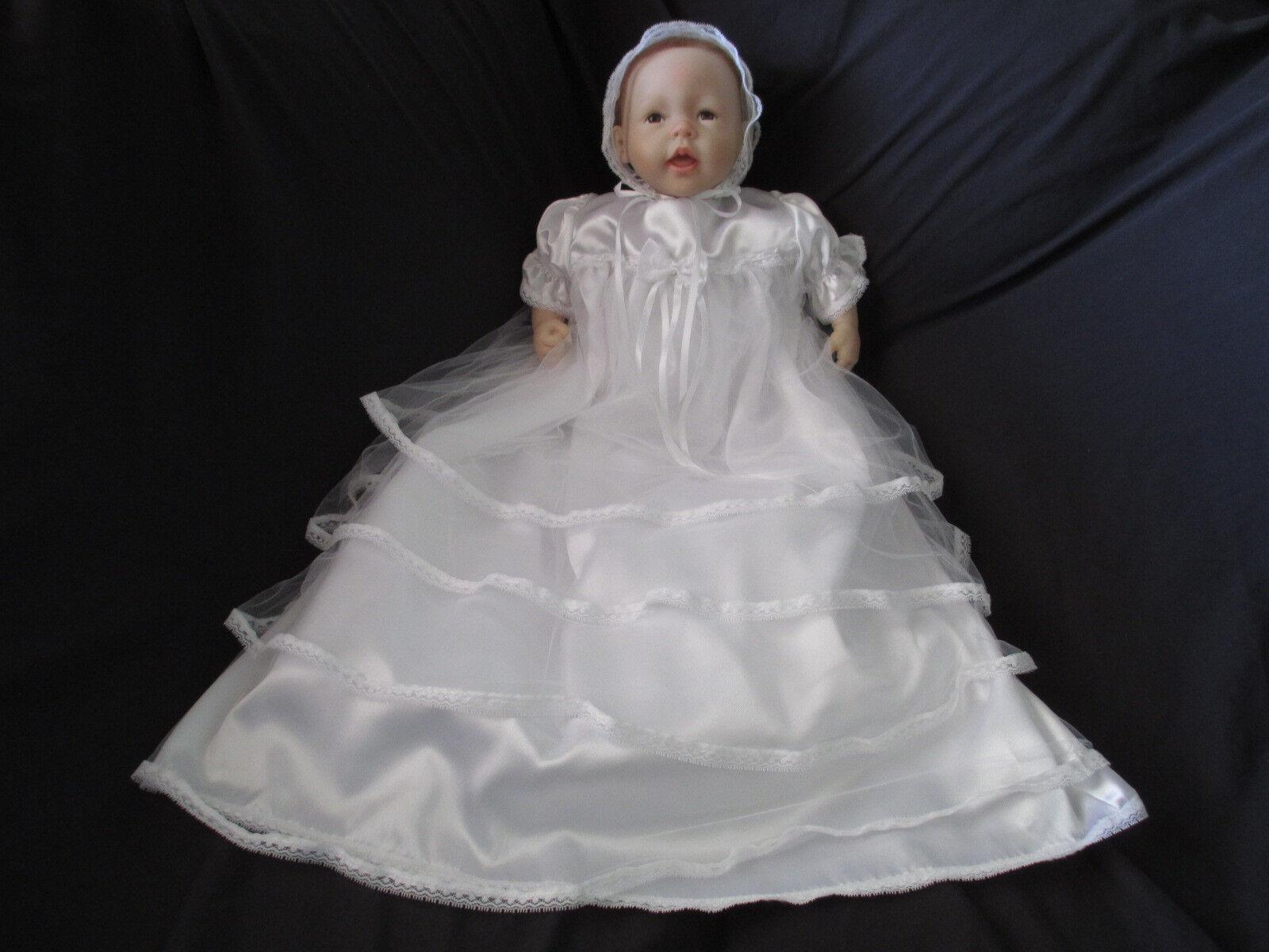 Baby girl satin tulle christening gown baptism dress 0 3 3 6 6 12 m