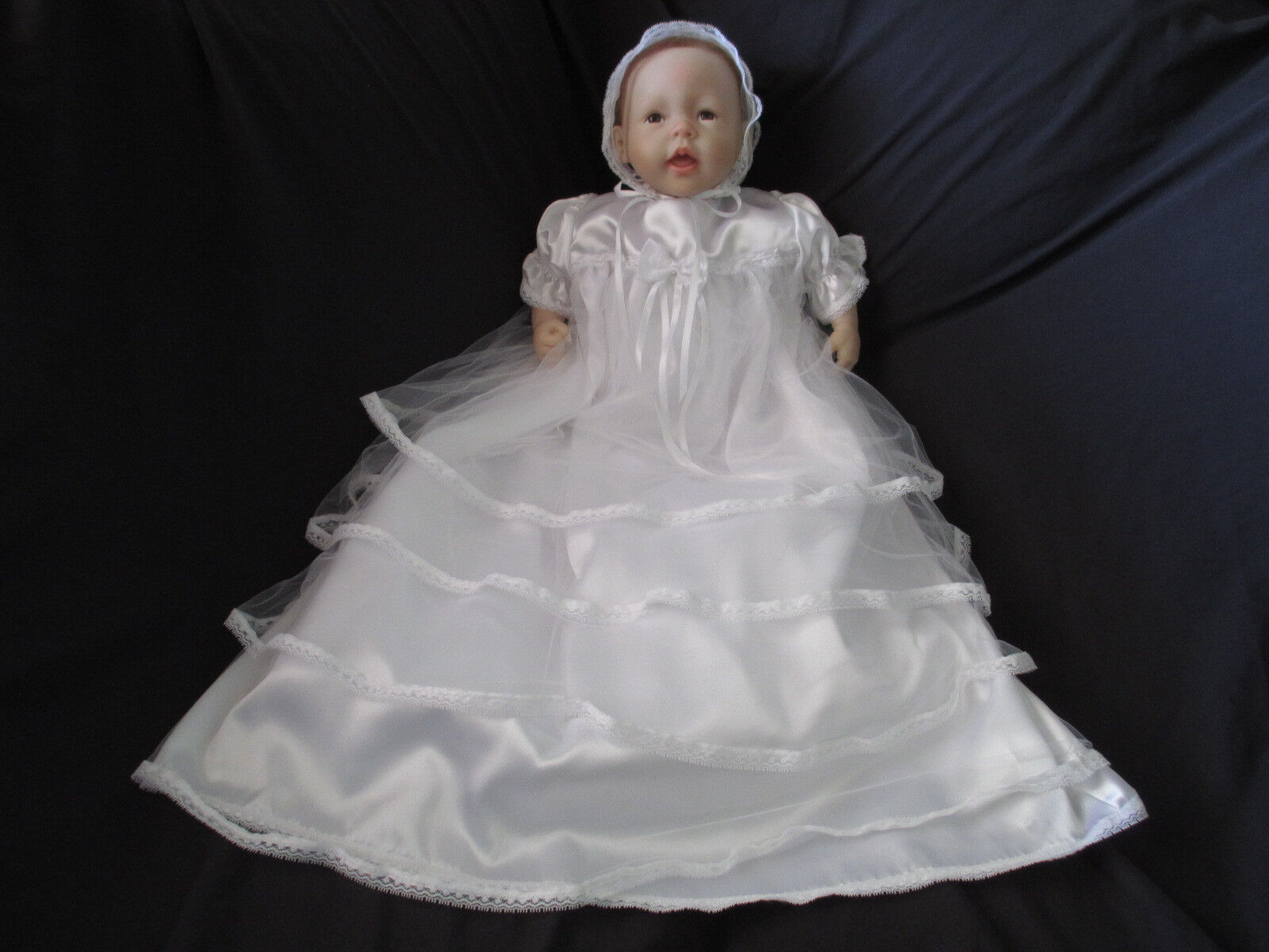 Baby Girls White Satin Tulle Christening Gown Baptism