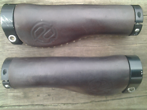 Genuine leather bicycle hand grips, ergonomic shape, clamp-on Maribyrnong Maribyrnong Area Preview