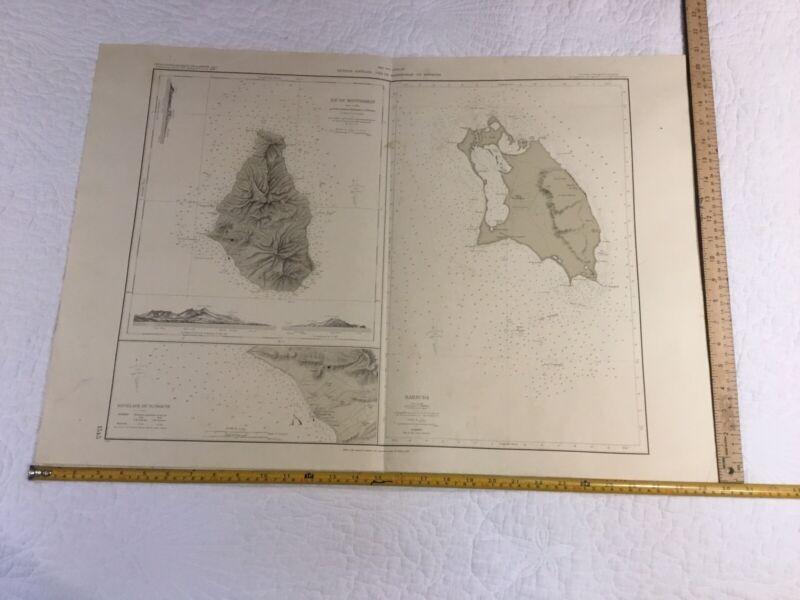 Vintage Nautical chart #1545 Petites Antilles-Ile De Montserrat 1968 Paris
