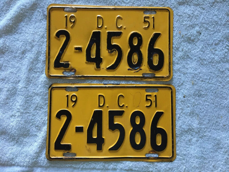 PAIR of 1951 WASHINGTON DC - DISTRICT of COLUMBIA license plates