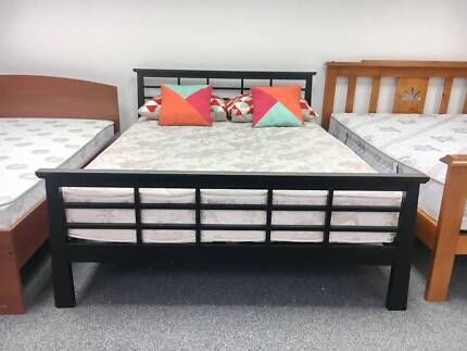 TODAY DELIVERY MODERN BLACK Queen wooden bed & mattress