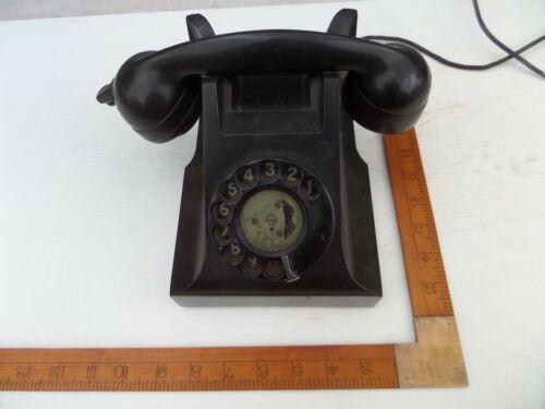 ANTIQUE VINTAGE OLD BLACK BAKELITE DESK TELEPHONE