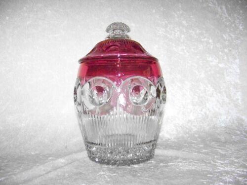 Vintage/Antique EAPG/US Glass Ruby Stained Manhattan #15078 Cracker/Biscuit Jar