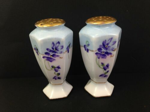 Antique Victorian Hand Painted Violets Porcelain Salt & Pepper Set Bavaria  g101
