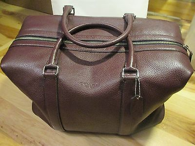 Coach F93596 Duffle Voyager Bag in Oxblood Pebble Leather Brand New With Tags!!!