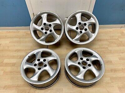 """99-01 Porsche 996 911 18"""" Wheels Rim Set Silver 7.5/10 Staggered OEM"""