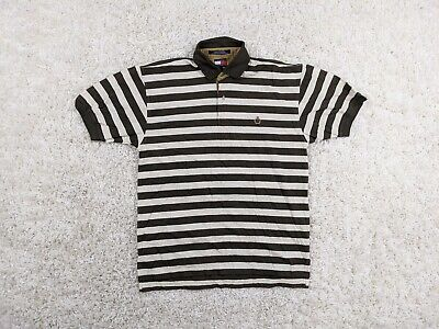 Vintage Tommy Hilfiger Polo Shirt Men Medium Brown White Striped Crest Dragon