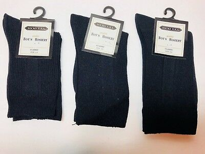 ONE PAIR U.S.A BOYS CLASSIC BLACK NYLON DRESS SOCKS SIZE 2-4 ,4-6 AND 6-8