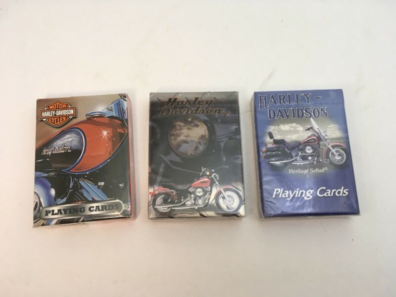 3 Decks Harley Davidson Playing Cards From The Early 2000's Sealed!