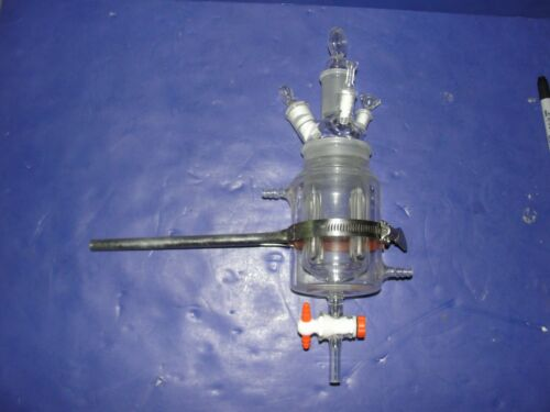 jacketed reactor 4 neck flask drain stopcock baffles Made in USA clamp