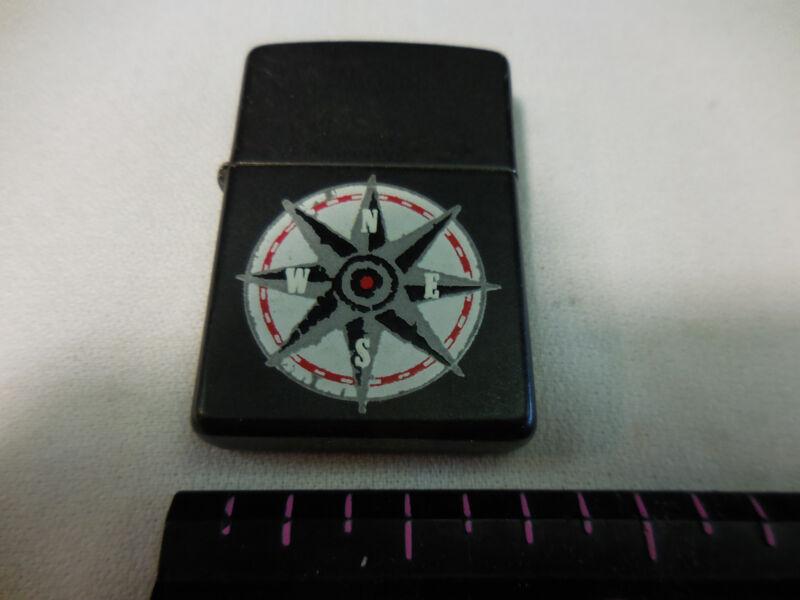 BLACK - Zippo Lighter -   Nautical compass motif / original label