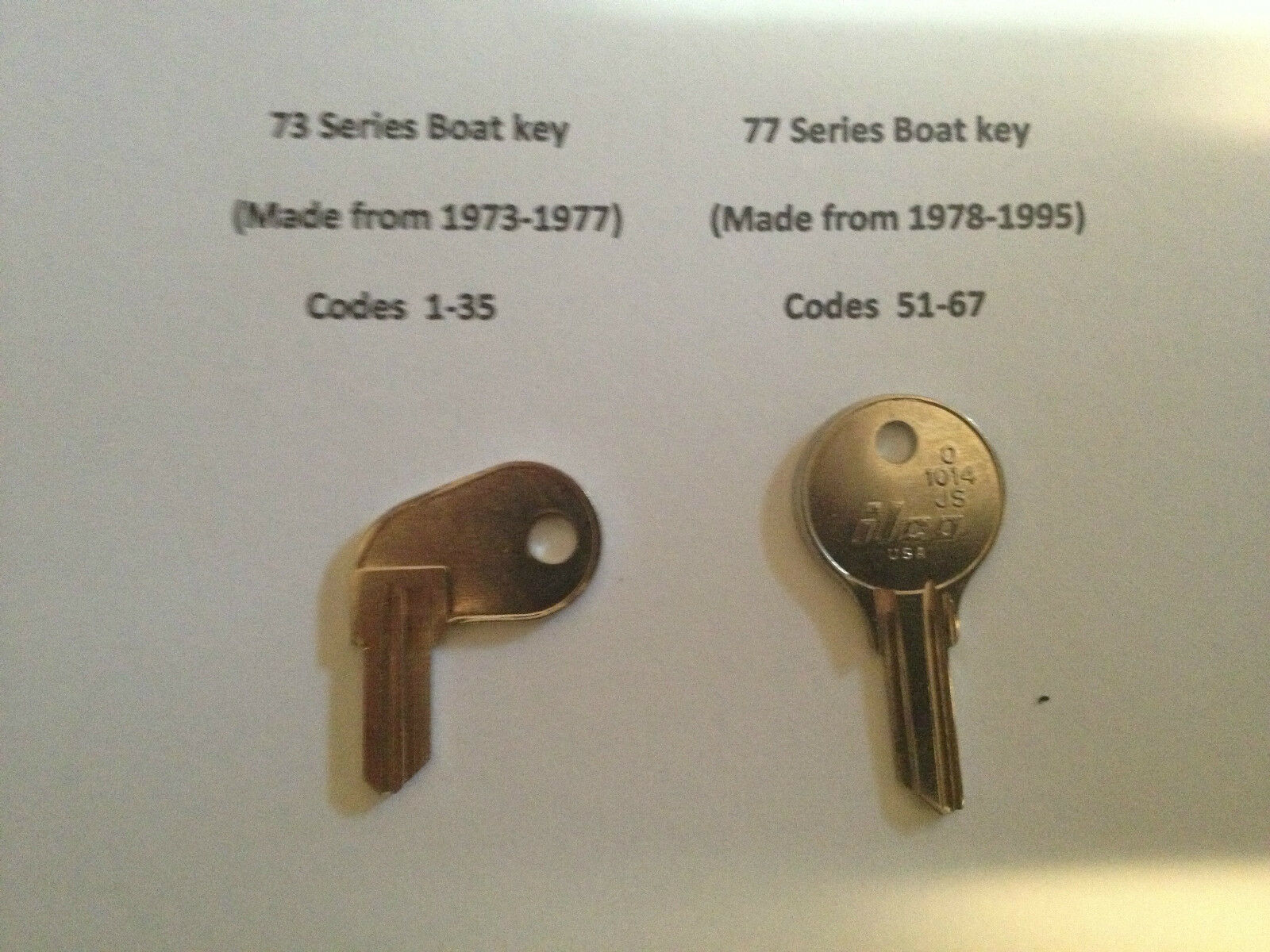 2 Key Evenrude-Johnston Boat keys-Codes 1-35 & 51-67 Ignition-Pollock-Key