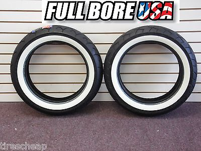 USA WIDE WHITEWALL MOTORCYCLE TIRES (PAIR) MT90HB16 Harley-Davidson FLH/FLT/FLST
