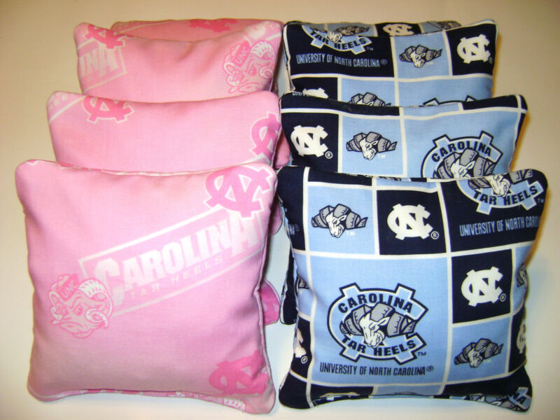 8 CORNHOLE BEAN BAG CORN HOLE UNC NORTH CAROLINA TARHEEL TAILGATE TOSS PINK PP