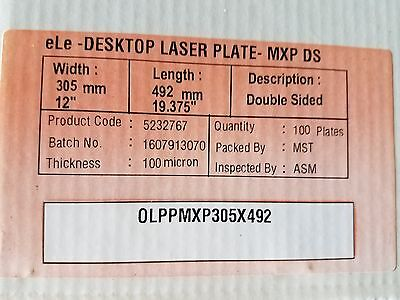 Polyester Laser Plates 2-sided 12 X 19-38 100 Plates Xante Hp 50005100