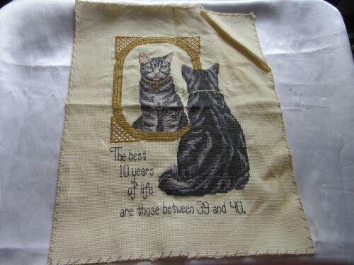 "Vintage Cat  Needlepoint 14"" x 11.5"" #3"