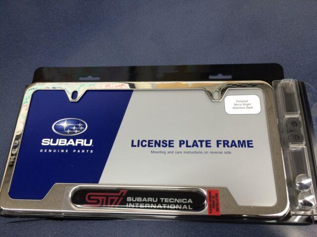 OEM Genuine Subaru STI Logo Chrome License Plate Frame SOA342L123 | eBay