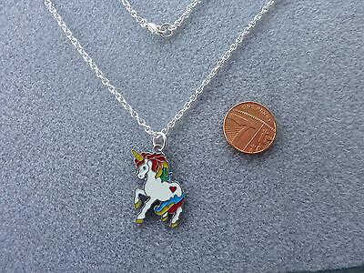 "Rainbow Unicorn Enamel Charm Pendant Necklace 16"" Magical Birthday Gift # 32"