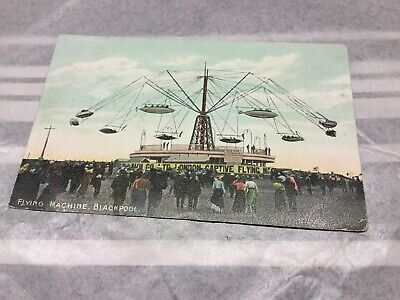 Old Postcard  Flying Machine Blackpool Old Flying Machine