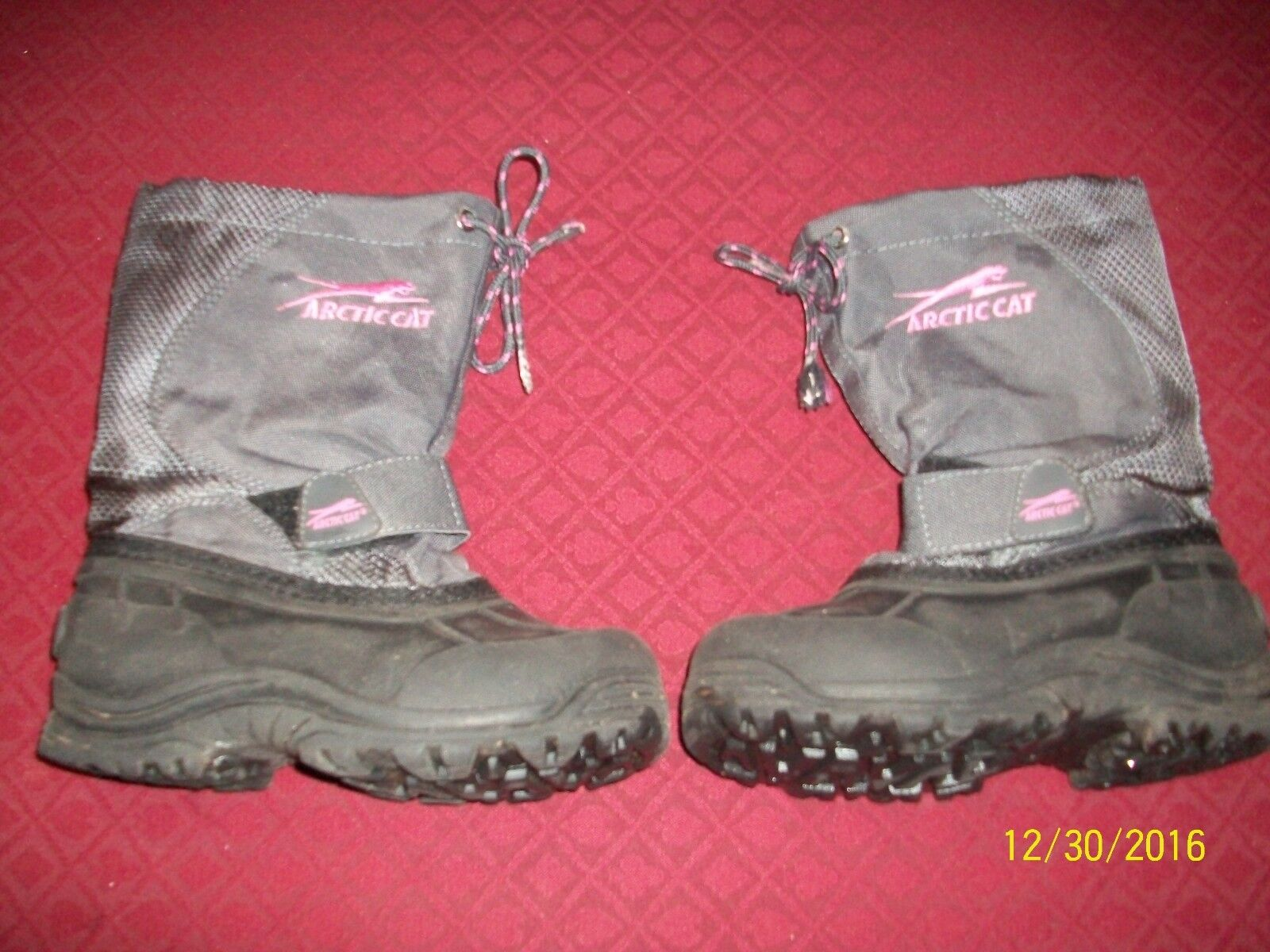 Arctic Cat Girl's Youth Snowmobile Boots Size 12