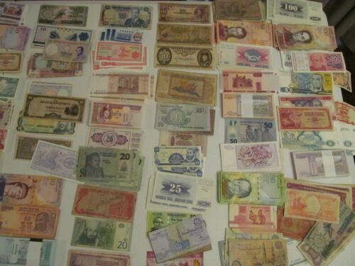 25  ALL DIFFERENT -WORLD PAPER MONEY BANKNOTES - MANY UNCIRCULATED