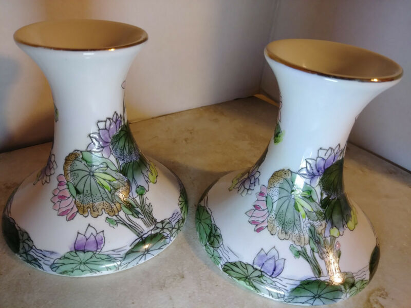 2 Chinese / Macau Porcelain Candlesticks Pink Green Lilac Floral Water Lilies