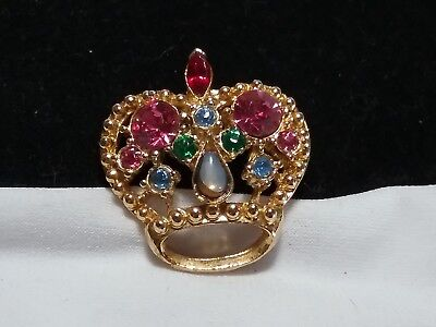 Vintage Estate Gold Pink Green Blue Rhinestone Crown Royal Hat Brooch Pin Royal Estate Green