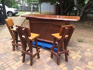 Timber Bar plus stools plus fridge Whiteside Pine Rivers Area Preview