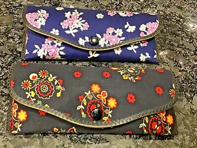 Lot of 4 Vintage Women's Eyeglass Sunglasses Cases Floral Black Beads (Eyeglasses Europe)