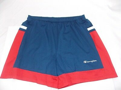 Champion Mens Red White Blue Embroidered Spellout Basketball Shorts Size 3X Champion White Basketball Shorts