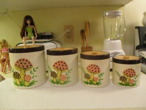 Vintage Sears, Roebuck And Co.1979  Made In Japan Mushroom Canister Set