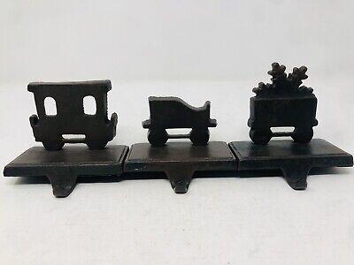 Cast Iron Train Christmas Stocking Hangers Holders Set Of 3 Train Carts