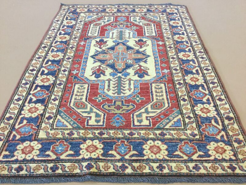 3.6 X 5 Red Blue Geometric Medallion Persian Oriental Area Rug Hand Knotted Wool