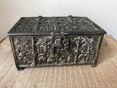 Interesting Vintage Gilt Metal Japanese Trinket Box