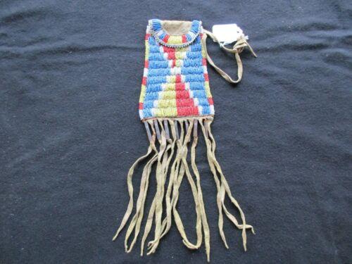 NATIVE AMERICAN BEADED LEATHER TOBACCO BAG, BEADED MEDICINE BAG,   SD-1021*05991