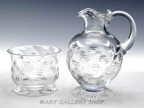 William Yeoward Crystal SHAMROCK OPEN SUGAR BOWL CREAMER JUG PITCHER SET Unused