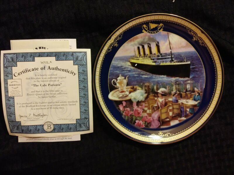 Antique The Cafe Parisien Titanic Queen of the Ocean authentic Plate #6010A