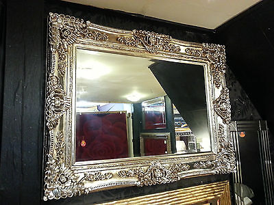 Antique Champagne Silver Ornate Vintage French Beveled Wall Mirror 130x103cm New