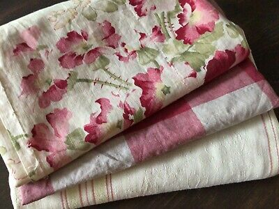 Antique Vintage French Fabric Coordinates bundles for sewing projects ticking