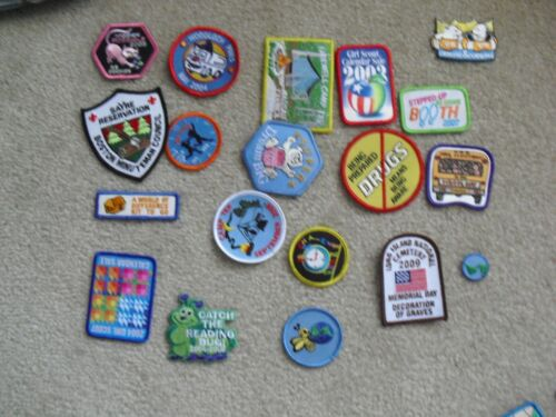 Variety Lot of 19 GSA Girl Scout Uniform Patches Camp Tek Reading No Drugs More