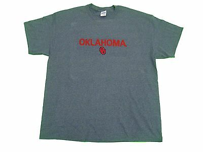 OKLAHOMA SOONERS ADULT DARK GREY EMBROIDERED SHORT SLEEVE T-SHIRT SM-5XL NWT#
