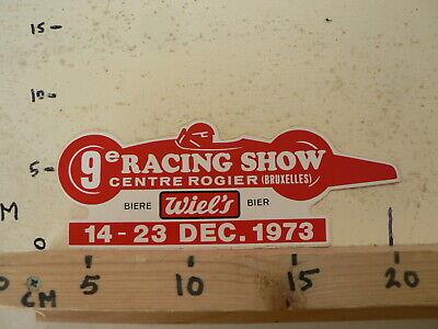STICKER,DECAL RACING SHOW CENTRE ROGIER BRUXELLES WIEL'S BIERE DEC 1973 F1 CAR, gebruikt tweedehands  Nederland