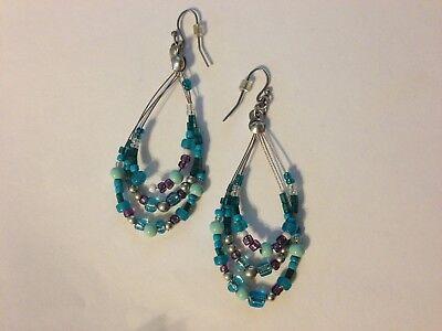 GLASS BEAD BEADED DROP DANGLE EARRINGS Handcrafted Silver Tone Pierced Ears