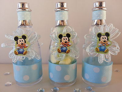12 Mickey Mouse Fillable Champagne Bottles Baby Shower Boy F