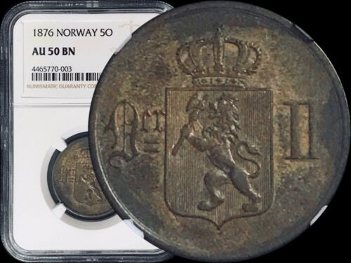 1876 Norway 10 Øre - NGC AU50 (aUNC)