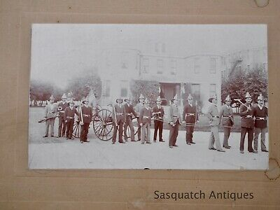 ANTIQUE AMERICAN FIRE FIGHTERS ON PARADE SPEAKING MEGAPHONE NOZZLES SEE MORE On Fire Photo