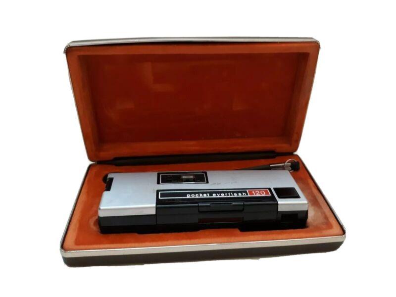 Vintage Keystone Pocket Everflash 120 Untested 110 film Camera With Hard Case