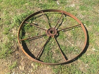 Large old iron wheel, missing spoke, for project