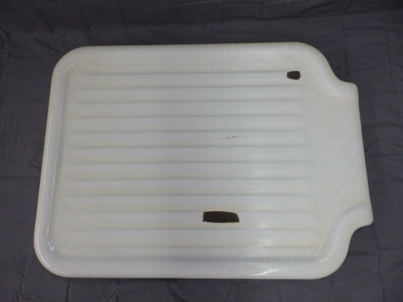 Vintage Cast Iron White Porcelain Sink Extension Standard Drainboard  186-18P